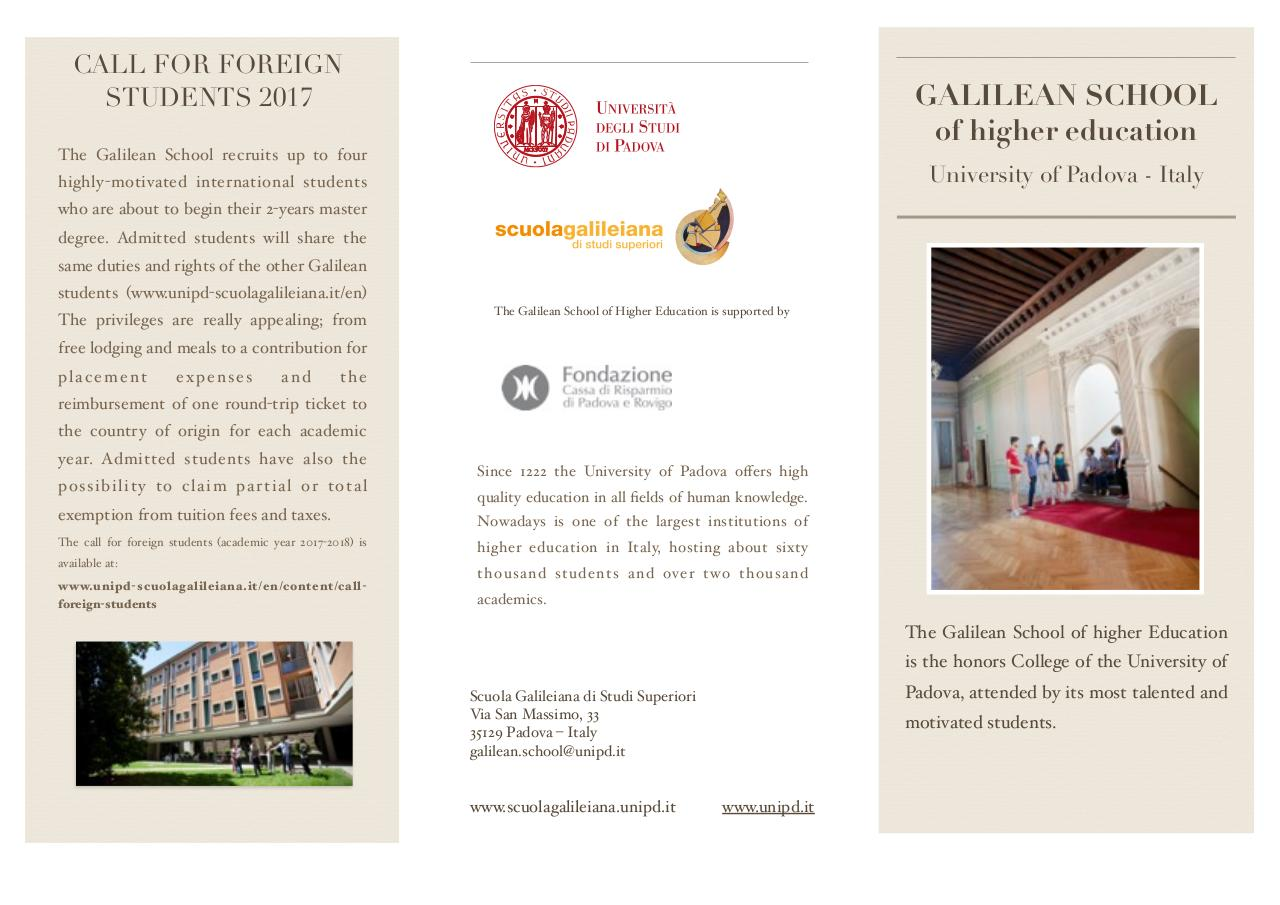 Galilean School of Higher Education - University of Padova.pdf - page 1/2