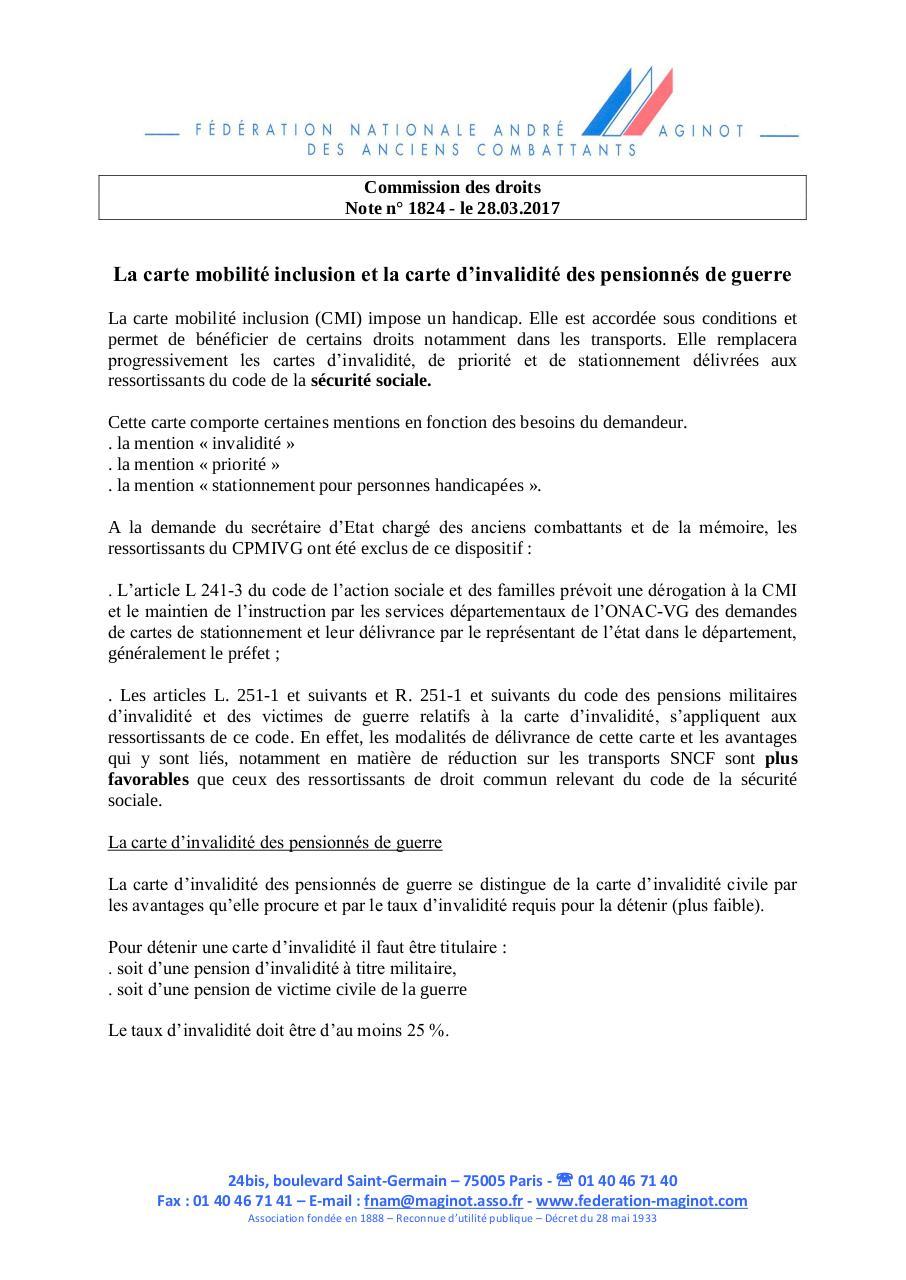 Carte Invalidite Pensionnes Guerre Par Christine Fichier Pdf
