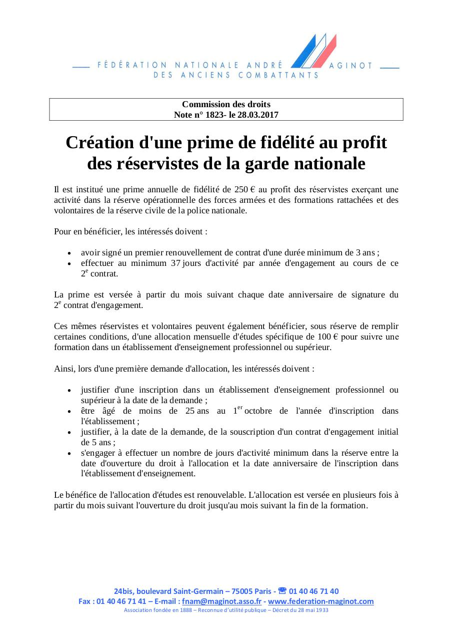 Creation Prime De Fidelite Reservistes Garde Nationale Par Christine