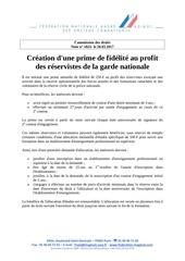 creation prime de fidelite reservistes garde nationale