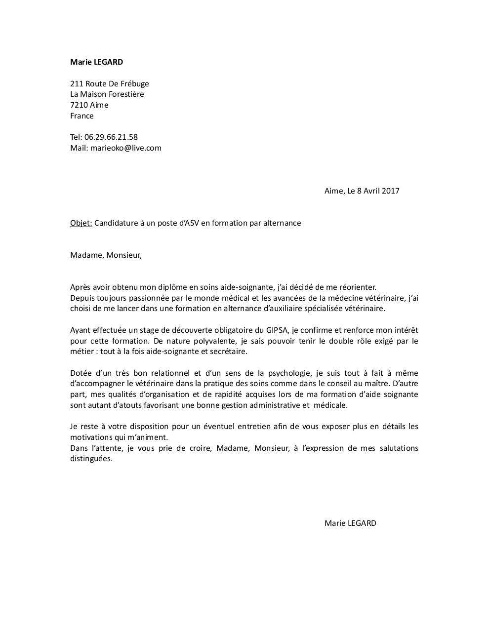 Lettre De Motivation Asvpdf Par Bastien Fichier Pdf