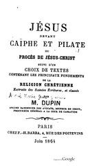 dupin jesus devant caephe et pilate