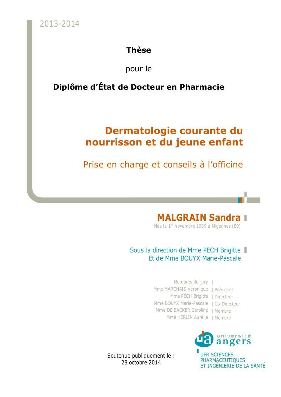 Thèse dermatologie pédiatrique par Sandra - Fichier PDF