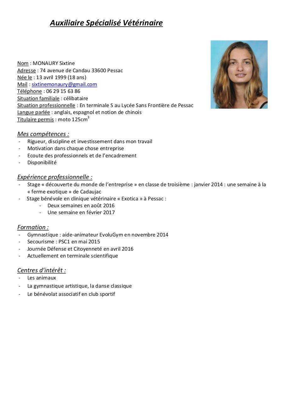 cv auxiliaire sp u00e9cialis u00e9 v u00e9t u00e9rinaire pdf par utilisateur