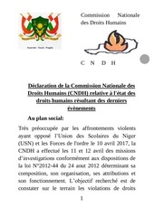 declaration sur les manifestations violentes du 10 avril2017
