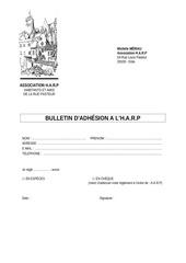 Fichier PDF formulaire adhesion harp