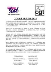 preavis de greve jours feries 2017 cgt sud