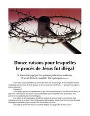 12 raisons pour lesquelles le proces de jesus fut illegal