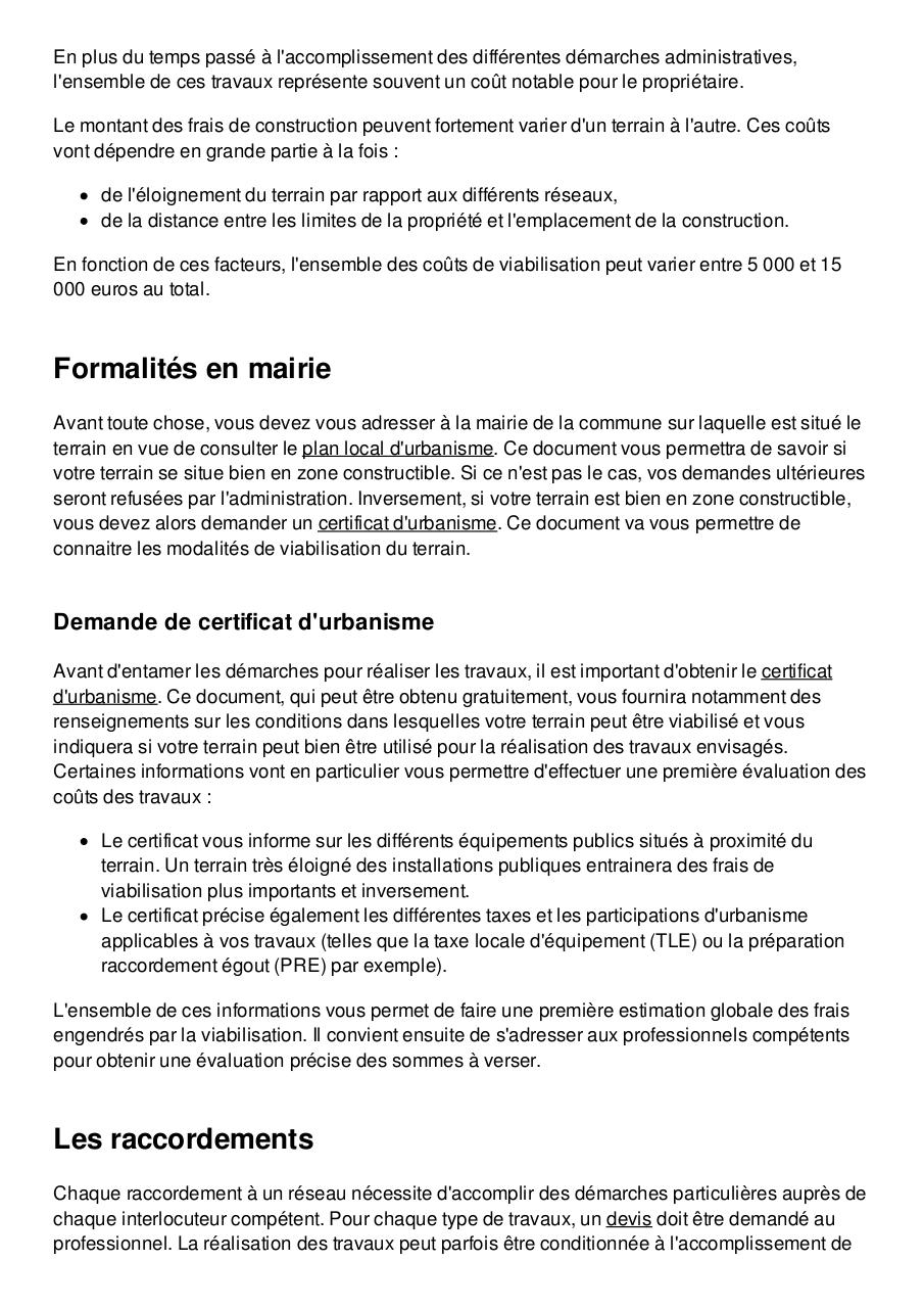 Viabiliser Un Terrain Couts Procedure Et Demarches Fdfd Pdf