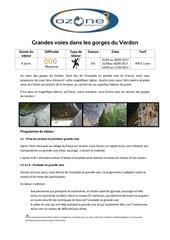 fiche technique sejour escalade pyrenees orientales verdon