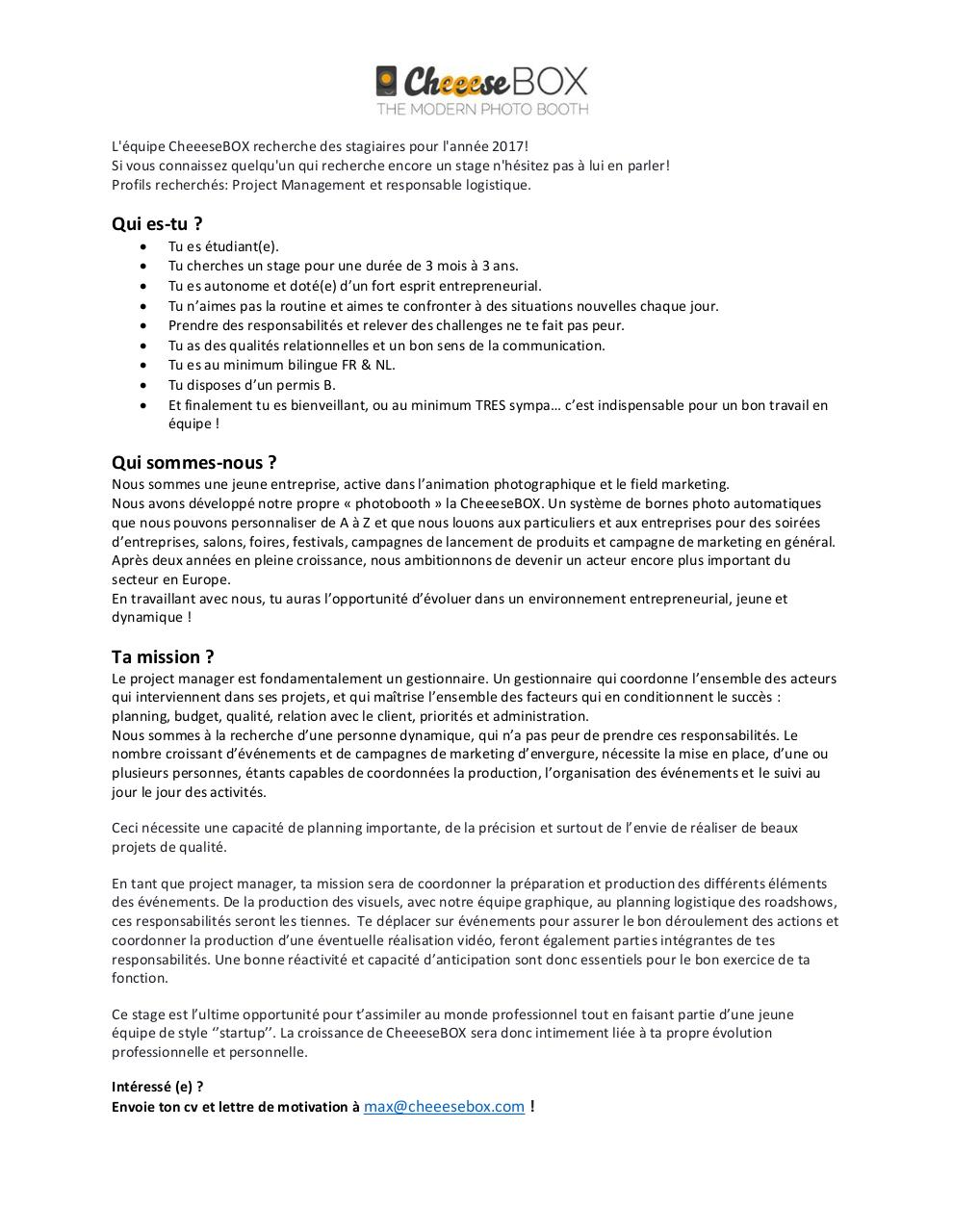 Aperçu du document Stage Project Manager CheeeseBOX.pdf - page 1/2
