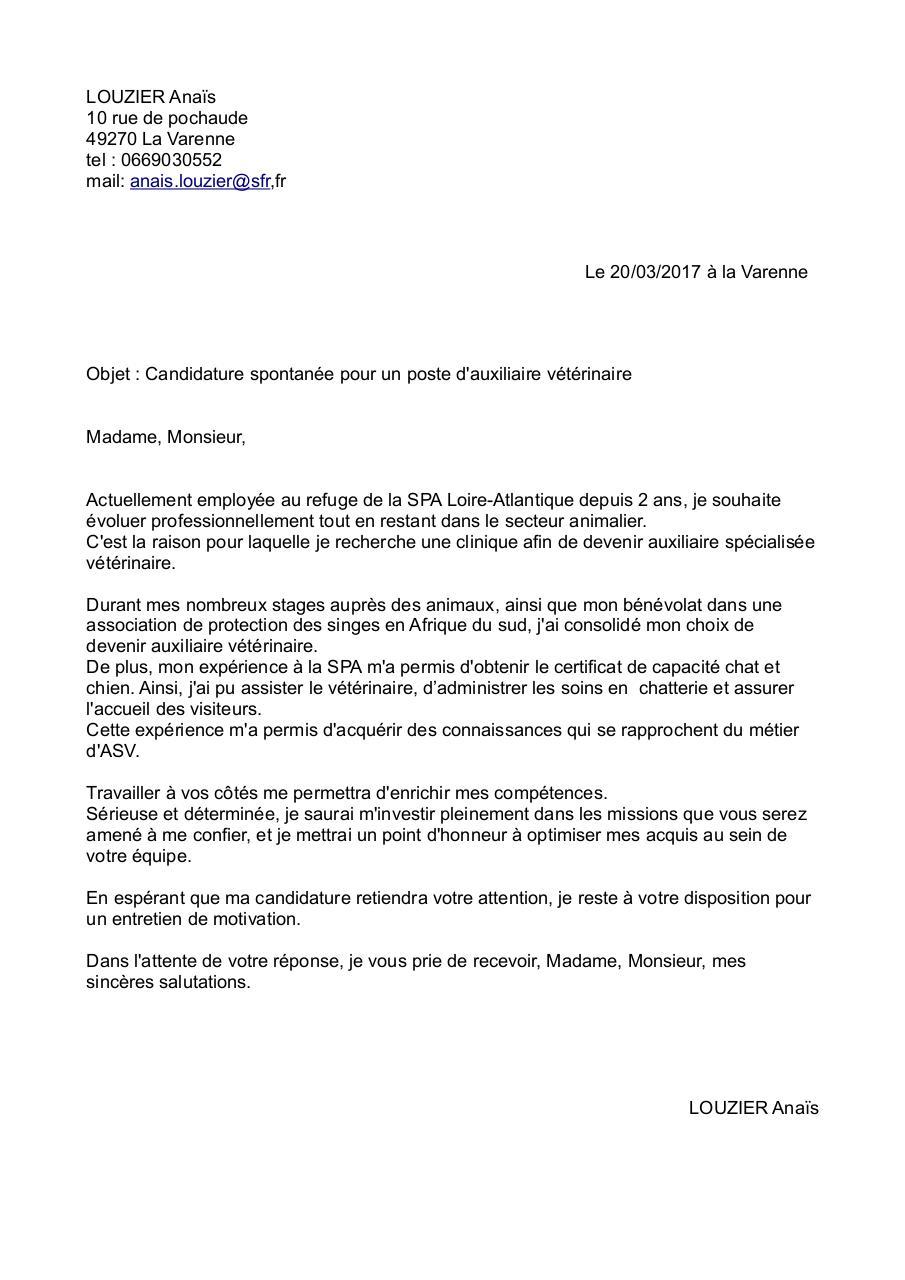 lettre de motivation auxiliaire veterinaire