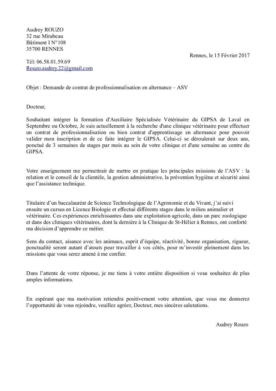Lettre De Motivation Clinique Veterinaire 2017 Fichier Pdf