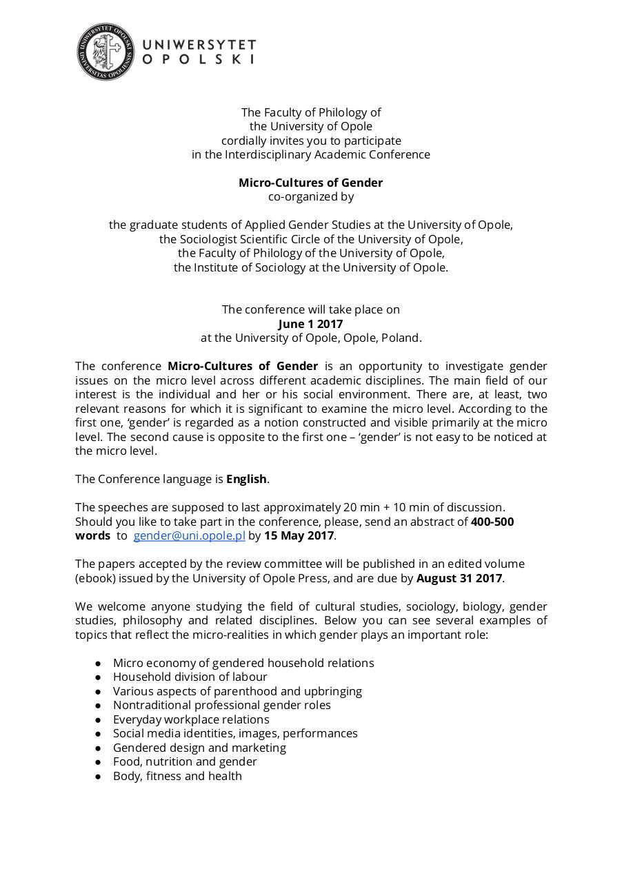 Micro-Cultures of Gender UO - Call for Papers.pdf - page 1/2