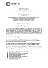 micro cultures of gender uo call for papers