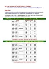 tarif location de chalets de vacances