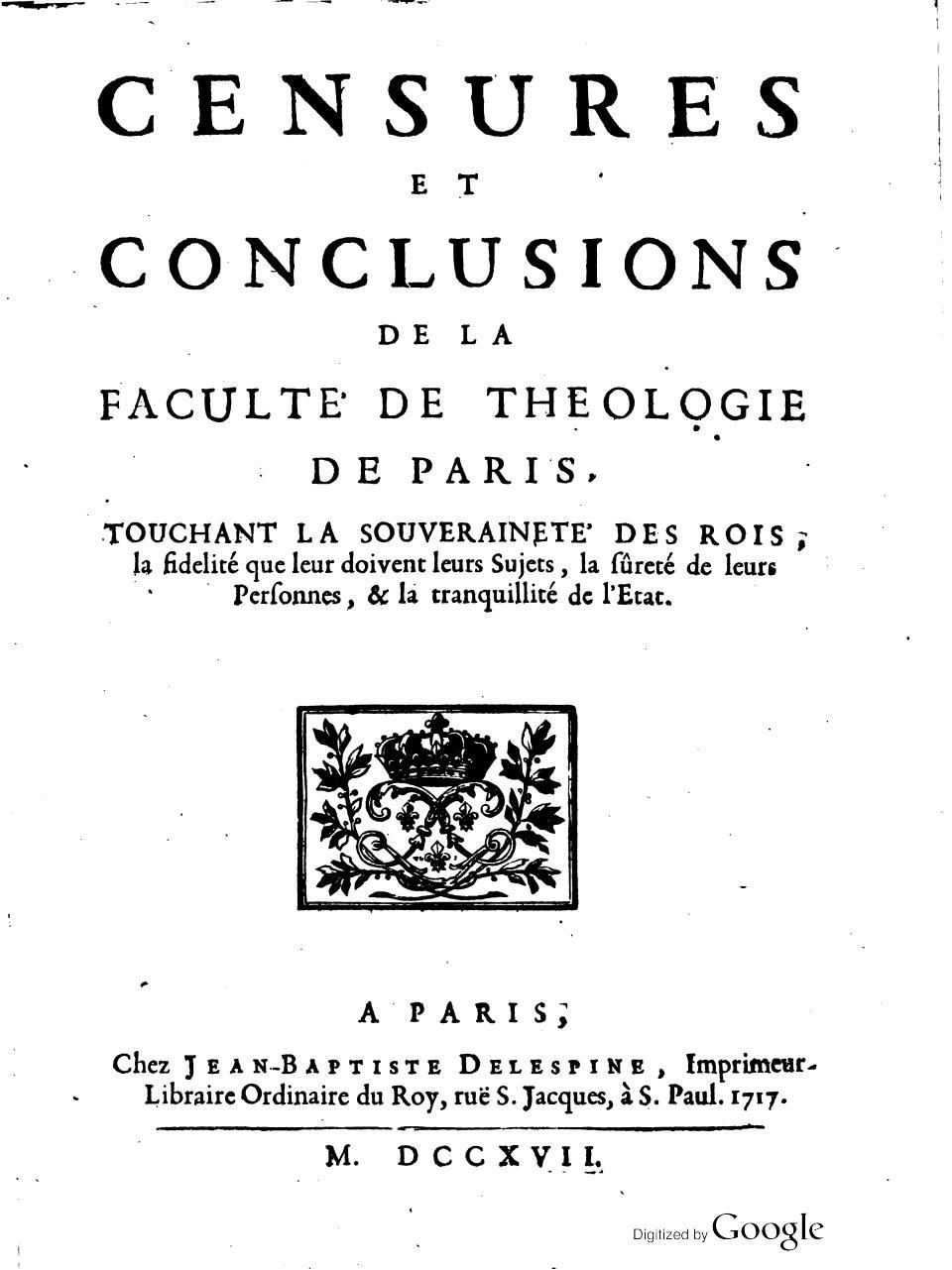 Aperçu Censures et condamnations  de La Faculte de Theologie.pdf - Page 1/213