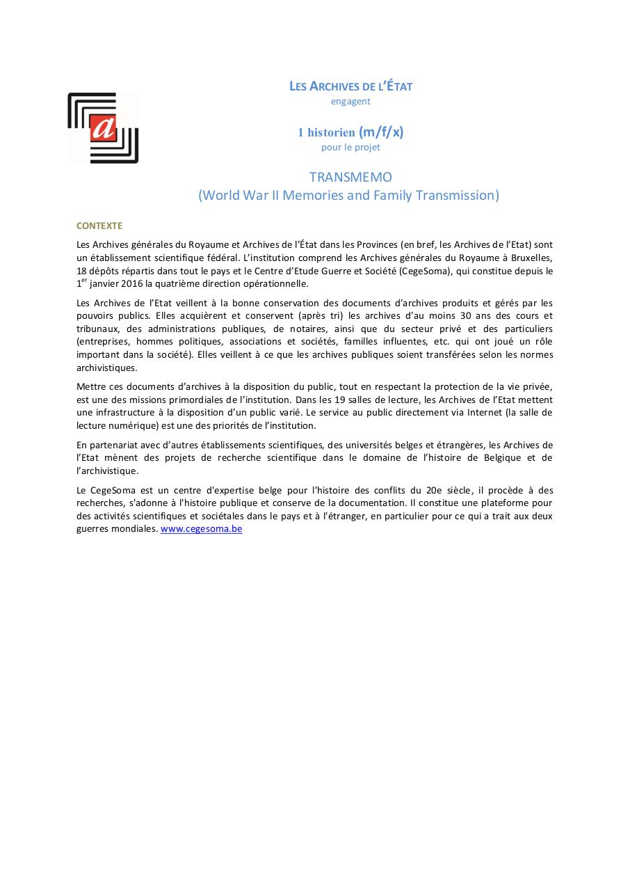 Aperçu du document VACATURE_BRAIN_TRANSMEMO CegeSoma.pdf - page 1/3