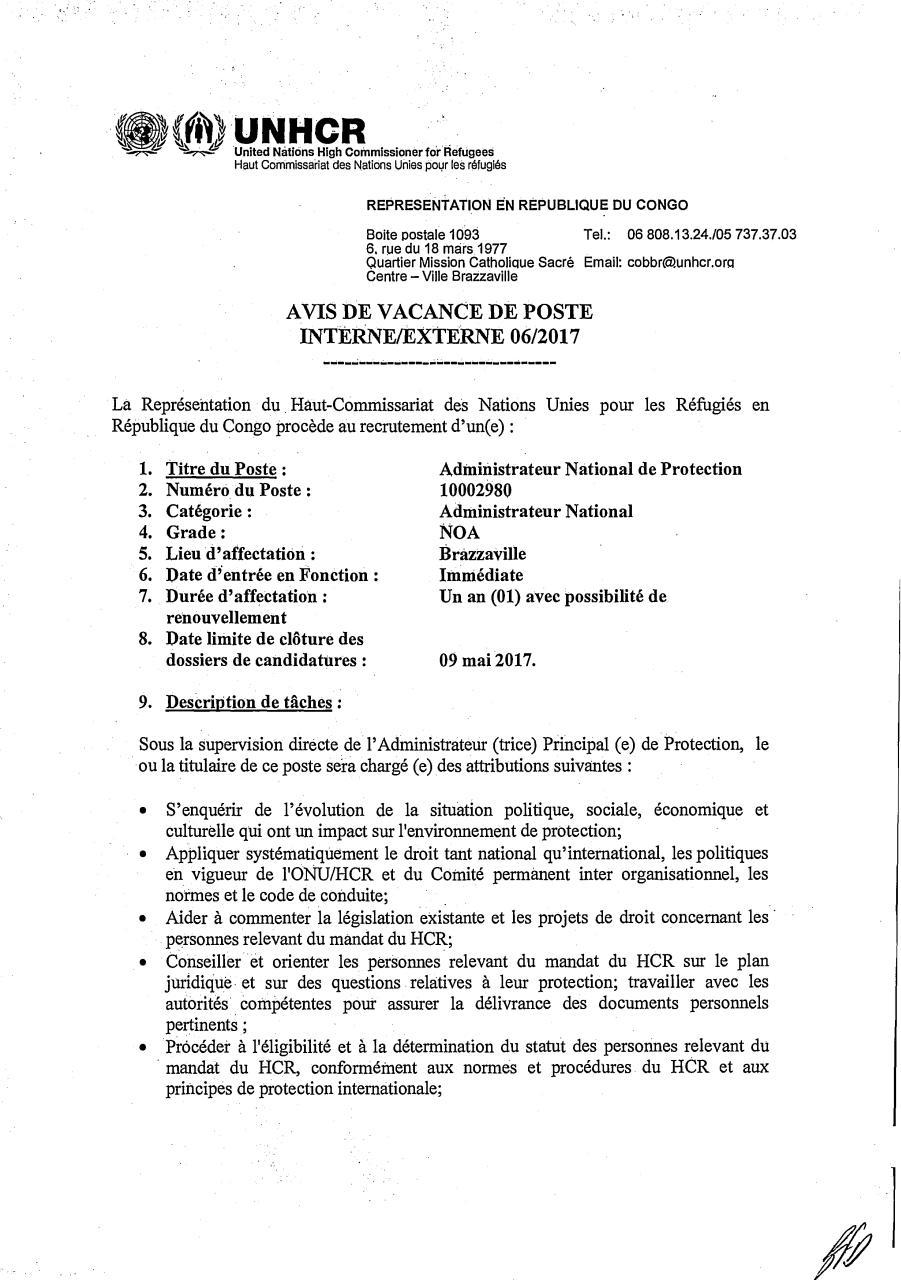 fiche de poste assistante programme edm togo par ludovic