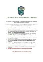 inventaire serpentard pdf