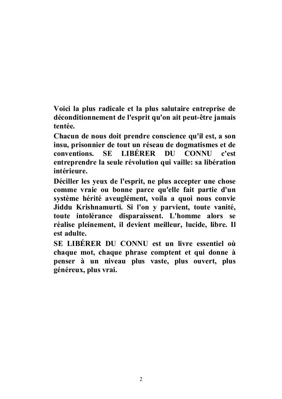 Chapitre 1 Livre Se Liberer Du Connu Pdf Fichier Pdf