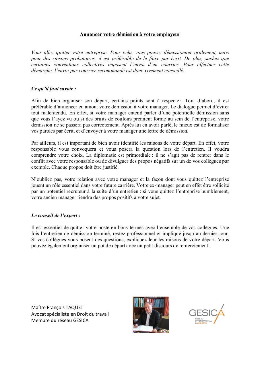 annoncer votre d mission votre annoncer votre d mission votre employeur pdf. Black Bedroom Furniture Sets. Home Design Ideas