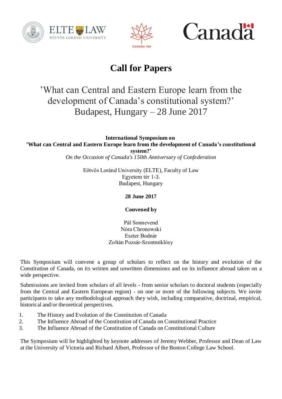 Call for Papers_Canada 150_Budapest_28_June.pdf - page 1/4