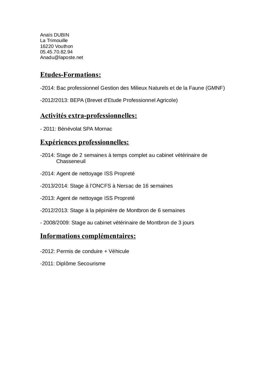 Cv Anais Pdf Fichier Pdf