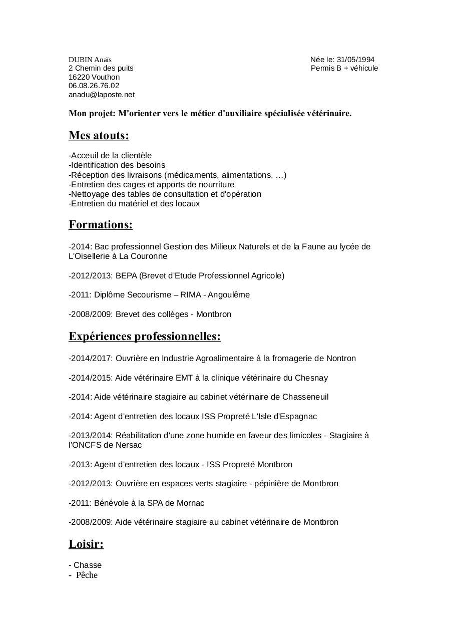 Cv Nettoyage De Locaux