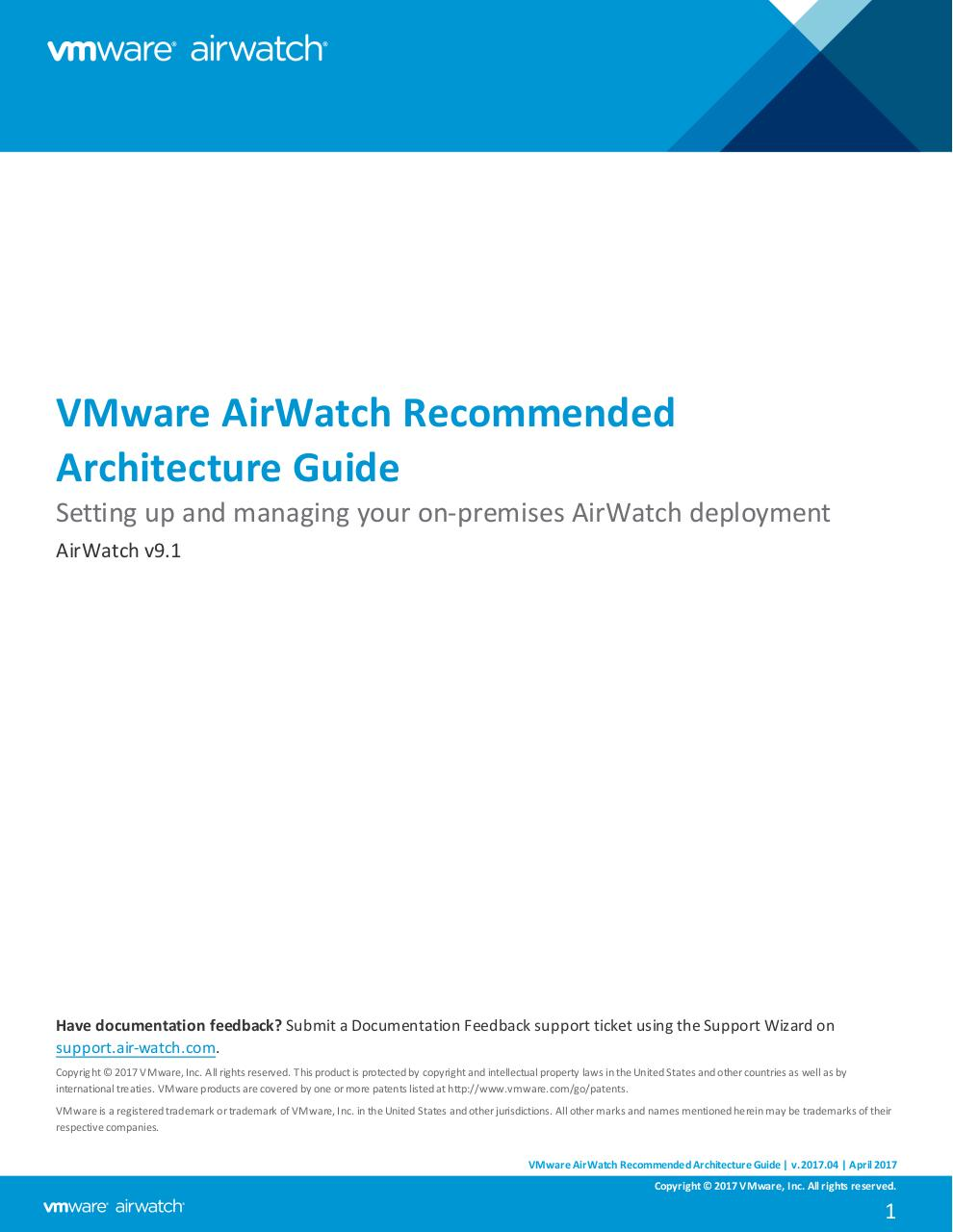 VMware AirWatch Recommended Architecture Guide v9_1.pdf - page 1/74