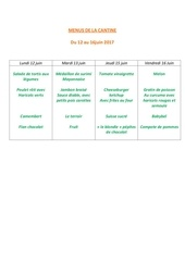 menus de la cantine 12 juin