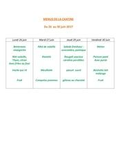 menus de la cantine 26 juin