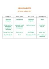 menus de la cantine 29 mai