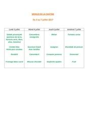 menus de la cantine 3 juillet