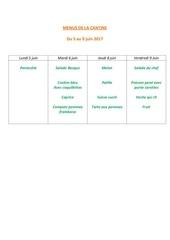 menus de la cantine 5 juin