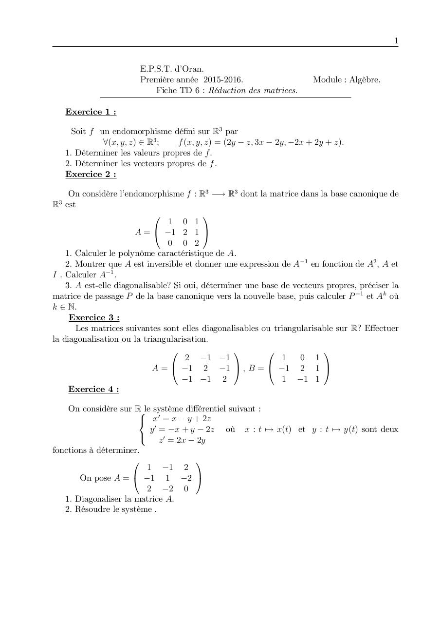 Aperçu du document TD6 Réduction des matrices.pdf - page 1/1