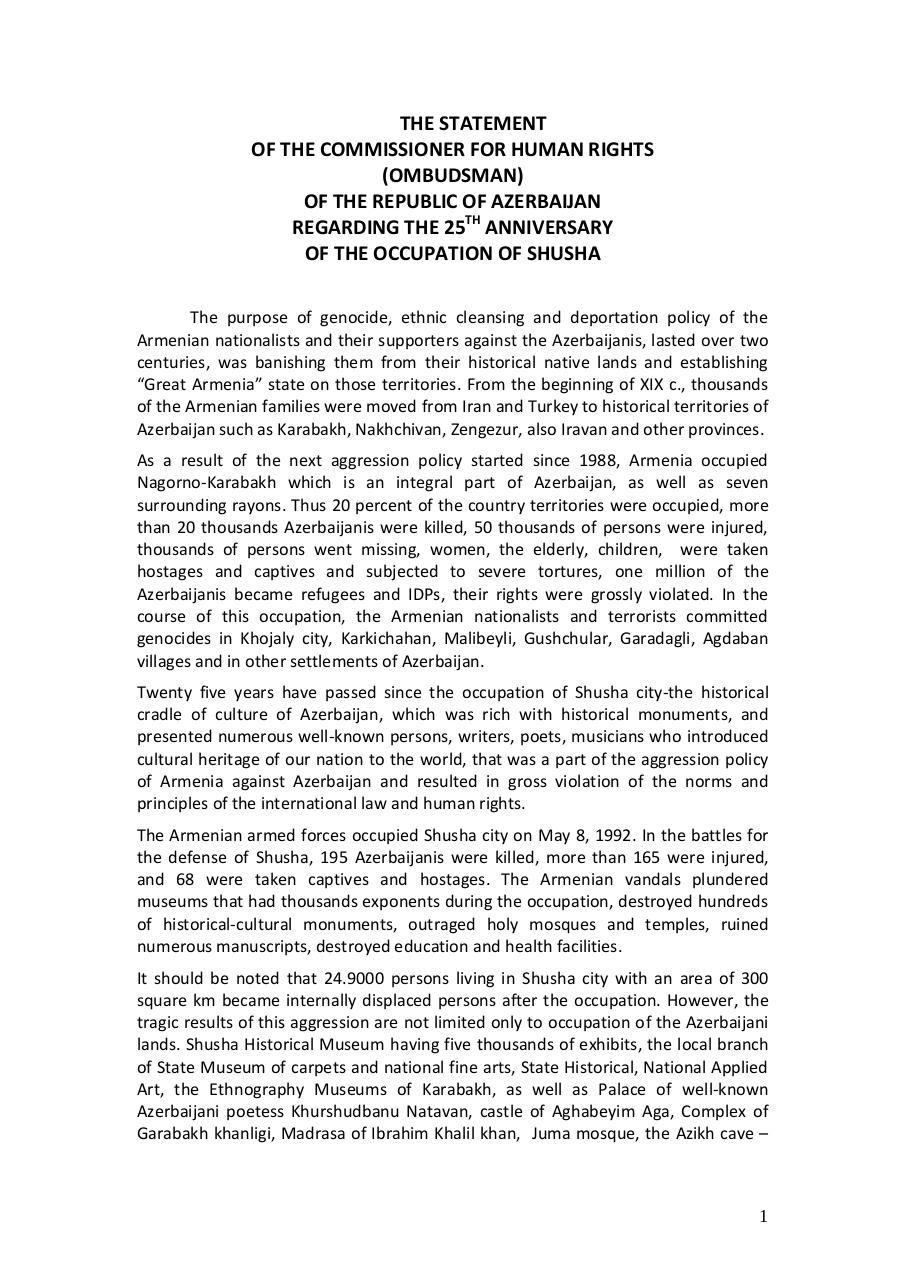 Aperçu du document 201705-Statement 25th anniversary occupation ofShusha.pdf - page 1/4
