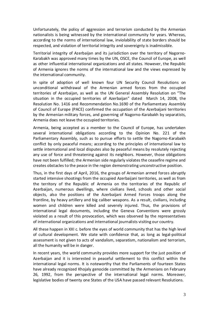 Aperçu du document 201705-Statement 25th anniversary occupation ofShusha.pdf - page 3/4