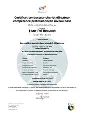 certificat conducteur chariot elevateur