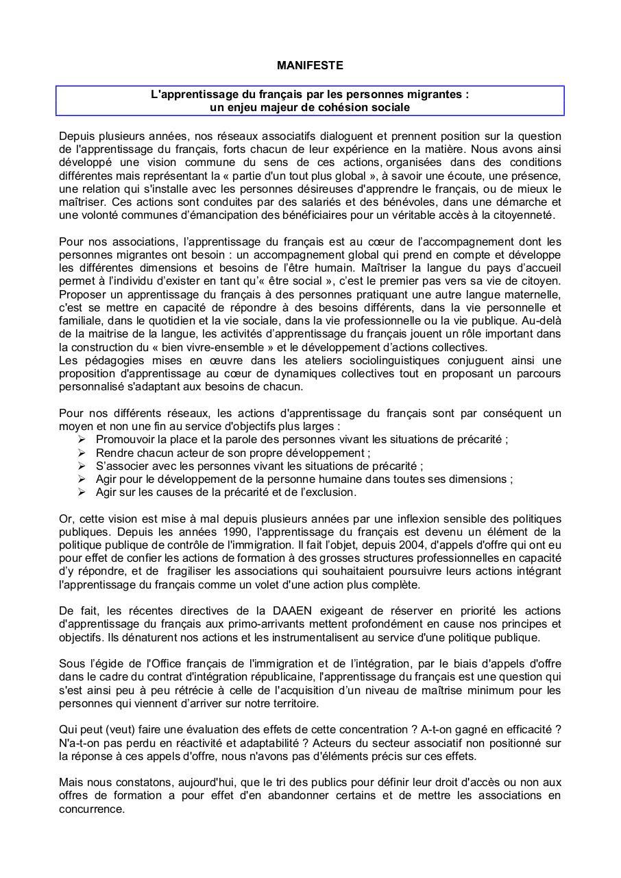 Aperçu Lefrancaispourtous-manifeste.pdf - Page 1/2
