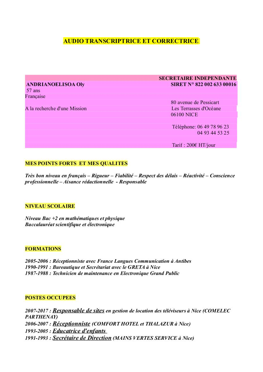 cv audio transcriptrice et correctrice c