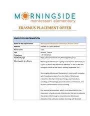 erasmus placement offer morningside