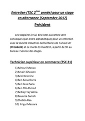 president entretien stage tsc septembre 2017
