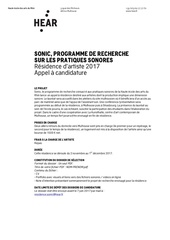 sonic appel a candidature 2017