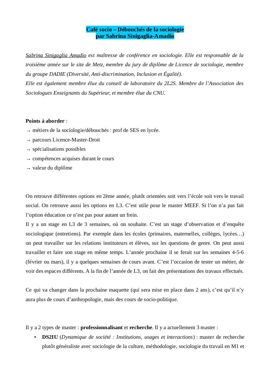 Cafe Socio Debouches De La Sociologie Fichier Pdf