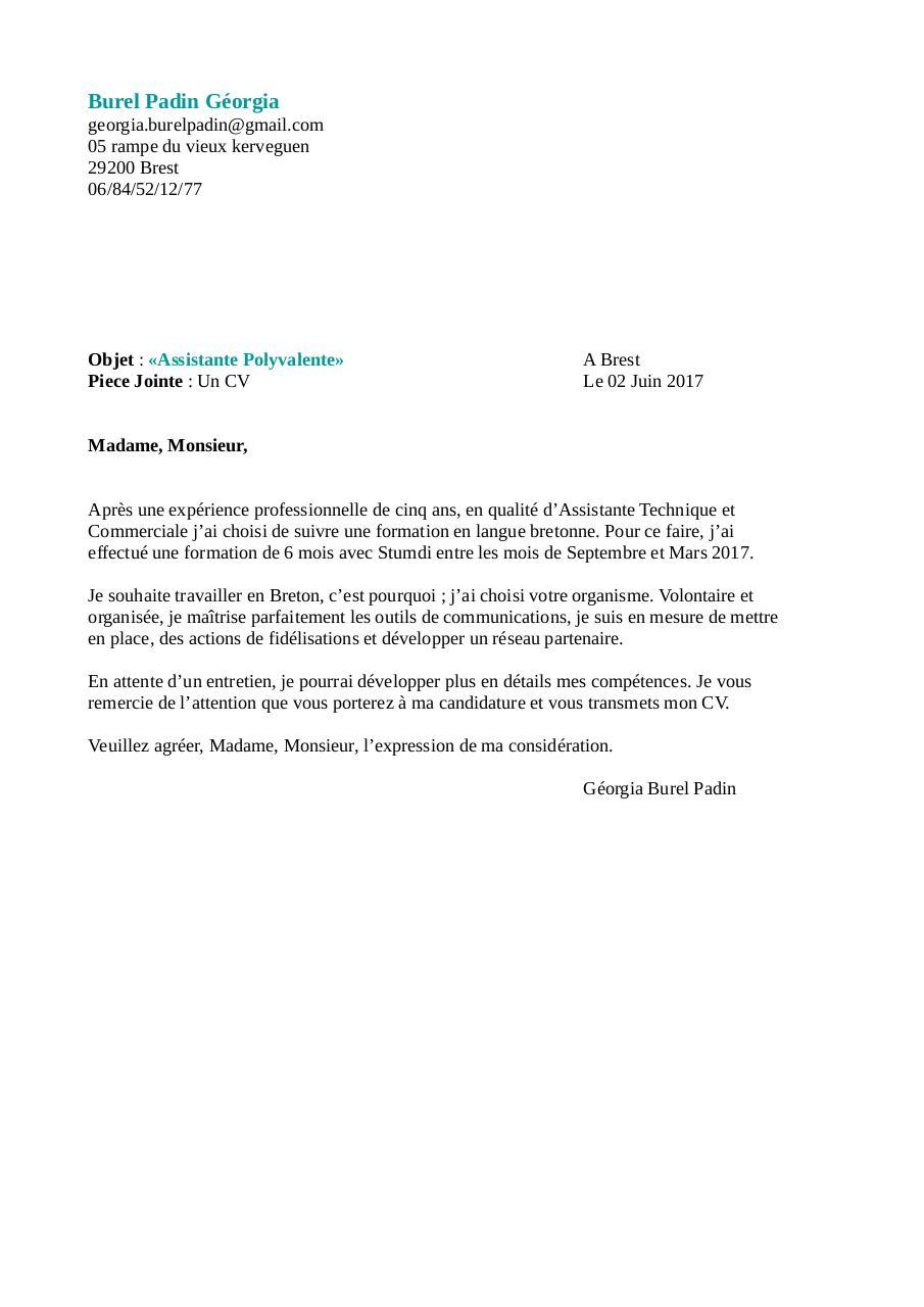 lettre de motivation assistante polyvalente