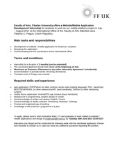 open call erasmus internship charles university prague