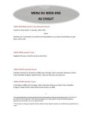 menu chalet