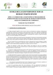 appel a candidature ecole de la gouvernance 2017 assoal