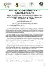 appel a candidature ecole de la gouvernance 2017